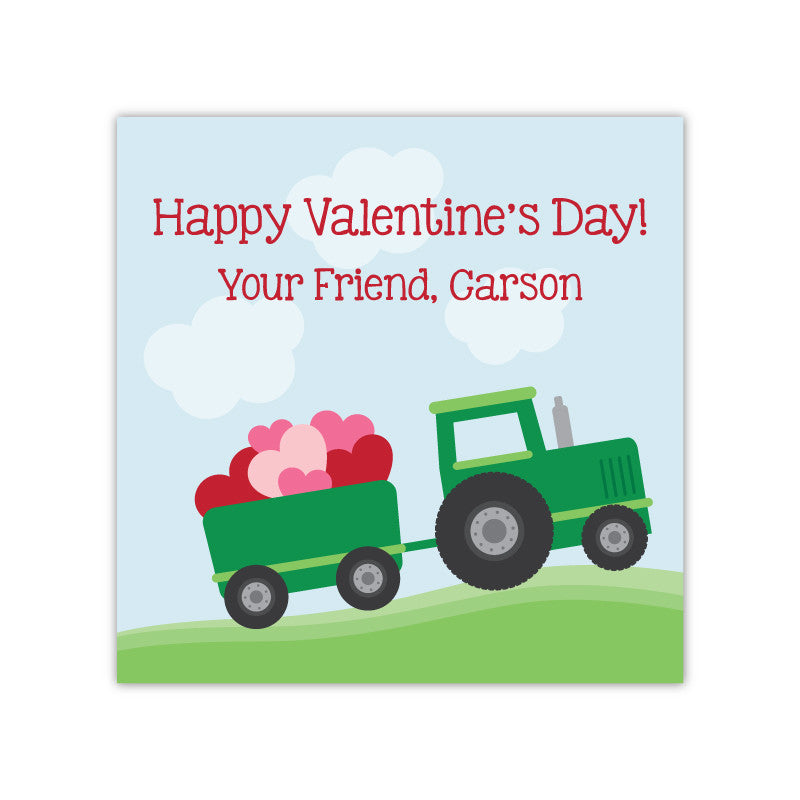 Tractor Personalized Valentine's Day Gift Labels
