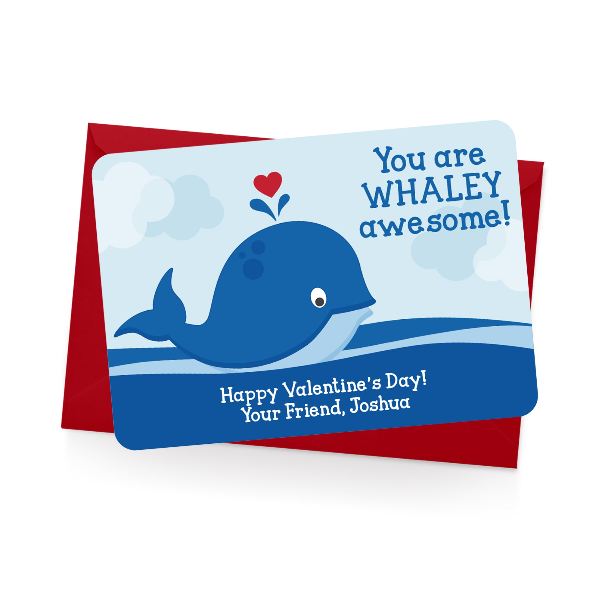 Whale Personalized Valentine's Day Cards
