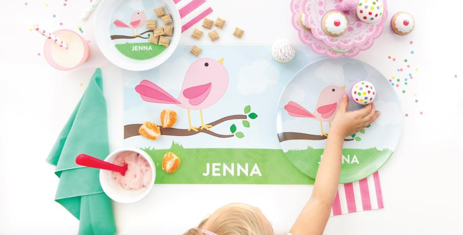 Personalized Mealtime Sets by Tickled Peach Studio