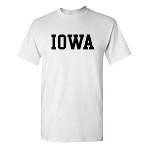 University of Iowa Hawkeyes Basic Block Short Sleeve T Shirt - White