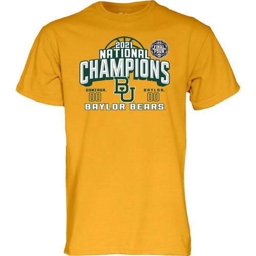 Baylor Bears Basketball 2021 National Champs DELTA T-Shirt - Gold