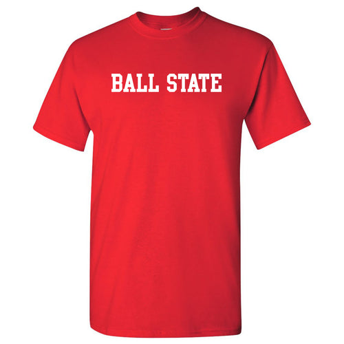 Ball State University Cardinals Basic Block Short Sleeve T Shirt - Red