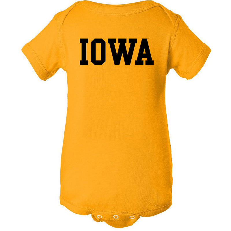 University of Iowa Hawkeyes Basic Block Infant Creeper - Gold