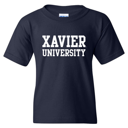 Xavier University Musketeers Basic Block Youth Short Sleeve T Shirt - Navy