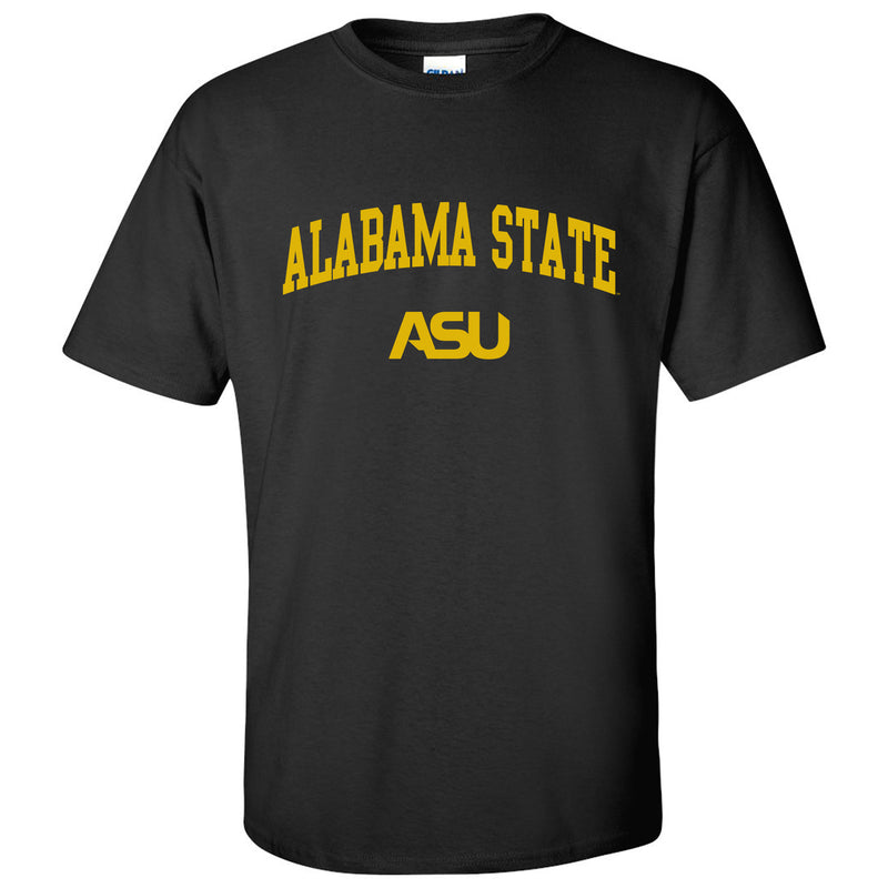 Alabama State University Hornets Arch Logo Short Sleeve T Shirt - Black