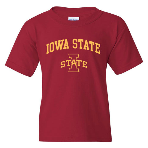 Iowa State University Cyclones Arch Logo Youth Short Sleeve T Shirt - Cardinal