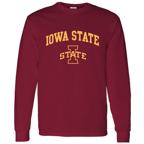Arch Logo Iowa State Cyclones Heavy Cotton Long Sleeve T Shirt - Cardinal Red