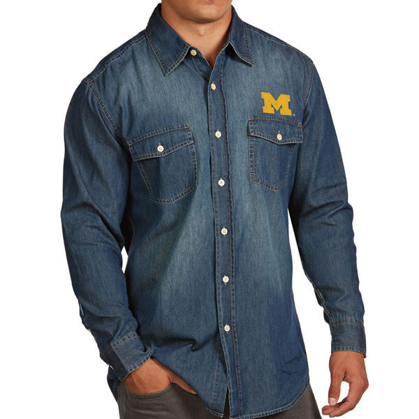 Block M Antigua Long Sleeve Button Up - Chambray