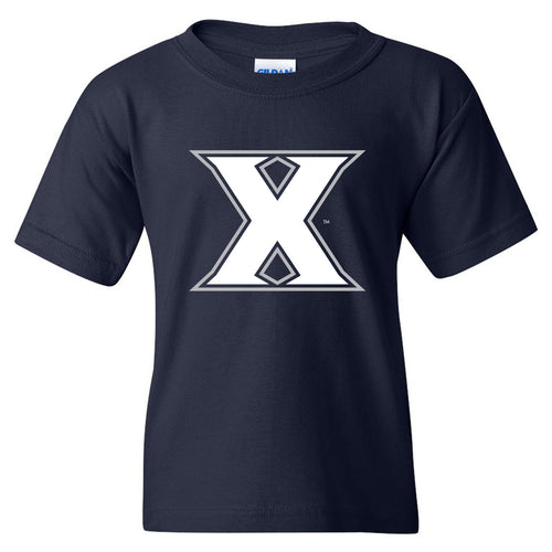 Xavier Primary Logo Youth T Shirt - Navy