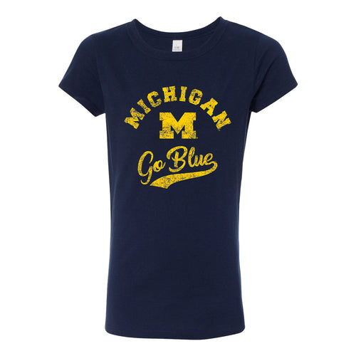 Michigan Retro Script Girls Princess Tee - Midnight Navy