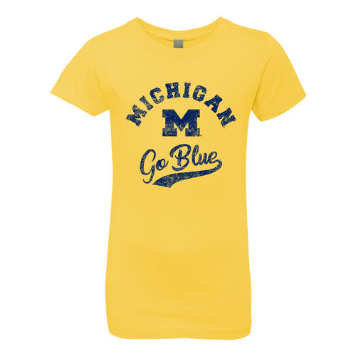 Michigan Retro Script Girls Princess Tee - Vibrant Yellow