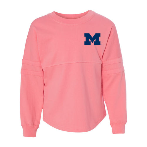 Left Chest Spirit University of Michigan Boxercraft Pom Pom Jersey Youth - Coral
