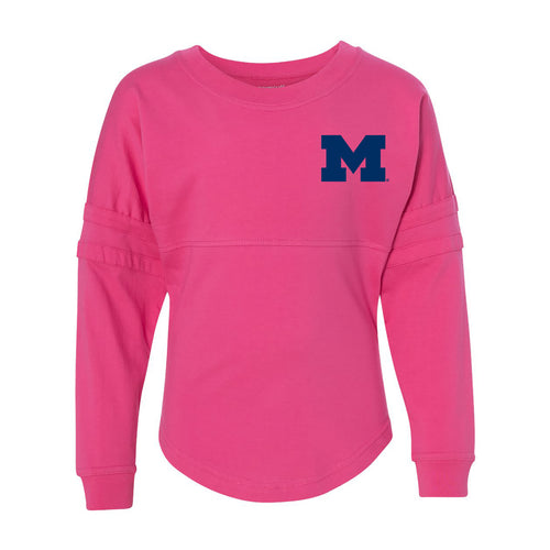 Left Chest Spirit University of Michigan Boxercraft Pom Pom Jersey Youth - Fuschia