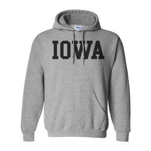 University of Iowa Hawkeyes Basic Block Hoodie - Grey