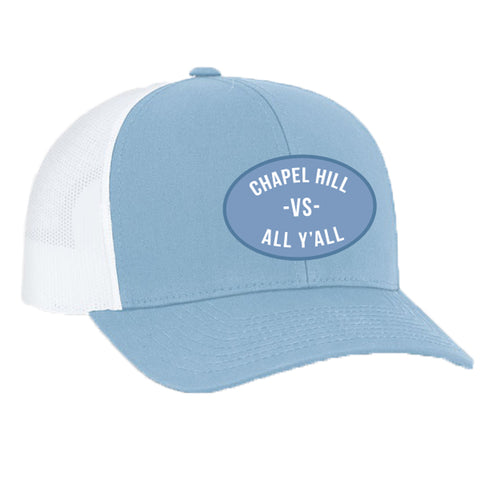 Chapel Hill Vs All Yall Patch Snapback Trucker Hat - Columbia Blue/White