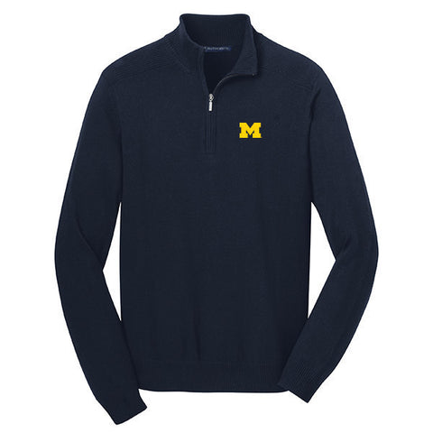 Block M Emb PA 1/2 Zip Sweater - Navy