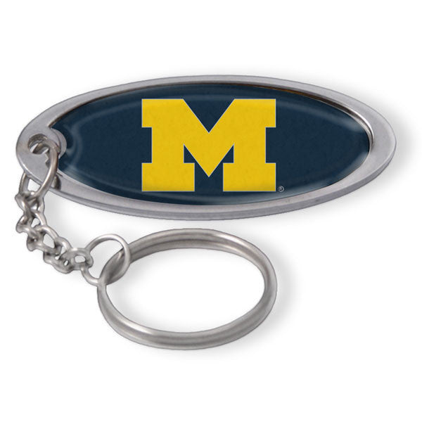 UM Large Oval Keychain - Navy/Maize