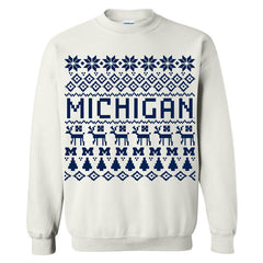 Michigan Holiday Sweater Crew - White