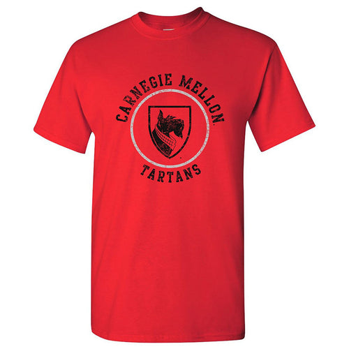 Carnegie Mellon University Tartans Circle Logo Short Sleeve T Shirt - Red