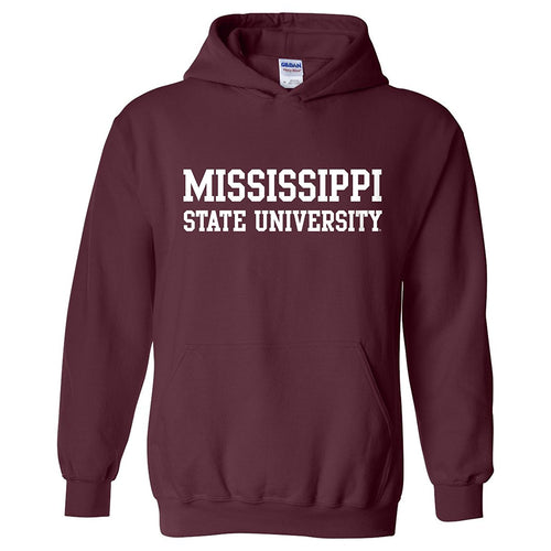 Mississippi State University Bulldogs Basic Block Hoodie - Maroon