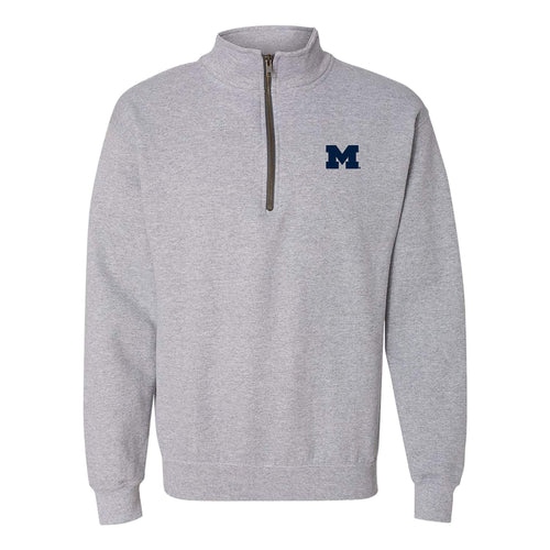 Primary Logo Left Chest University of Michigan Basic Quarter Zip Sweatshirt - Sport Grey