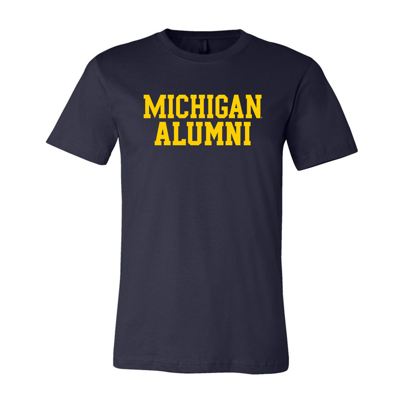 Basic Block Alumni University of Michigan Canvas Jersey Short Sleeve T Shirt - Navy
