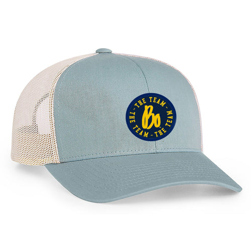 Bo TTT Circle Patch University of Michigan Pacific Headwear Trucker Snapback - Smoke Blue/Beige
