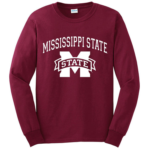Mississippi State University Bulldogs Arch Logo Long Sleeve T Shirt - Maroon