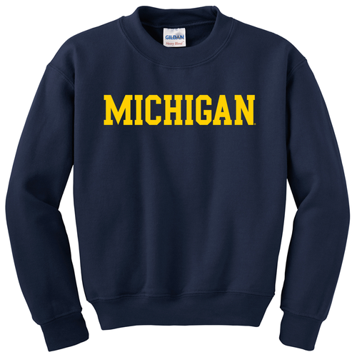 Basic Block University of Michigan Youth Crewneck Sweatshirt - Navy