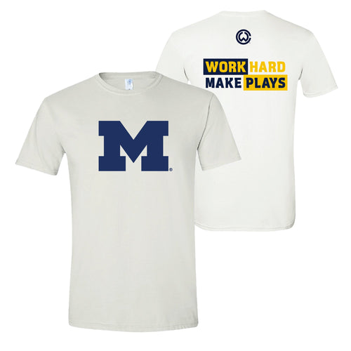 Charles Woodson Work Hard Make Plays University of Michigan Next Level T-Shirt - White