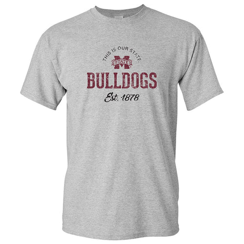 Mississippi State University Bulldogs Established Arch Logo Short Sleeve T Shirt - Sport Grey
