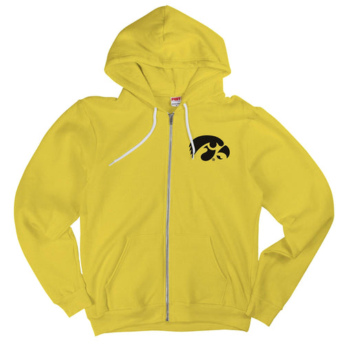 University of Iowa Hawkeye Logo American Apparel Zip Hoodie - Sunshine