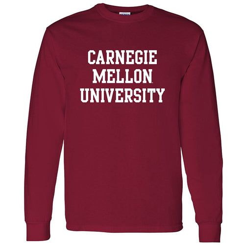 Carnegie Mellon University Tartans Basic Block Long Sleeve T Shirt - Cardinal Red