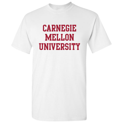 Carnegie Mellon University Tartans Basic Block Short Sleeve T Shirt - White