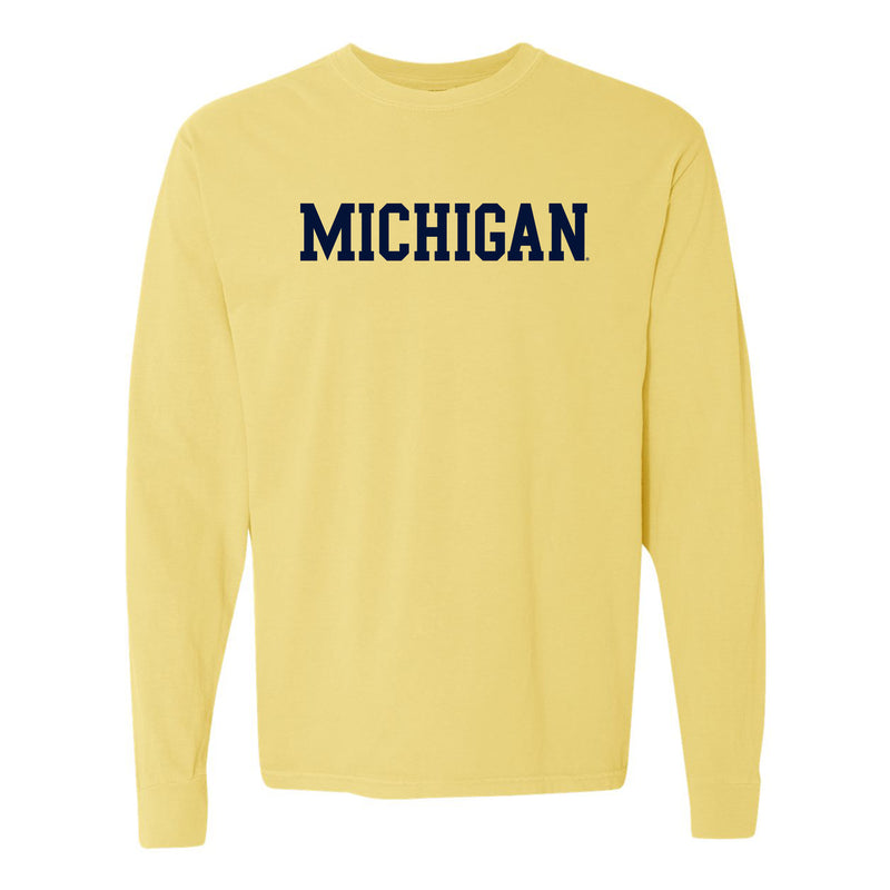 Michigan Basic Block Comfort Colors Ringspun Long Sleeve - Butter