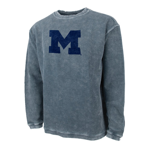 Primary Logo Michigan Charles River Camden Crew Neck Sweatshirt - Denim