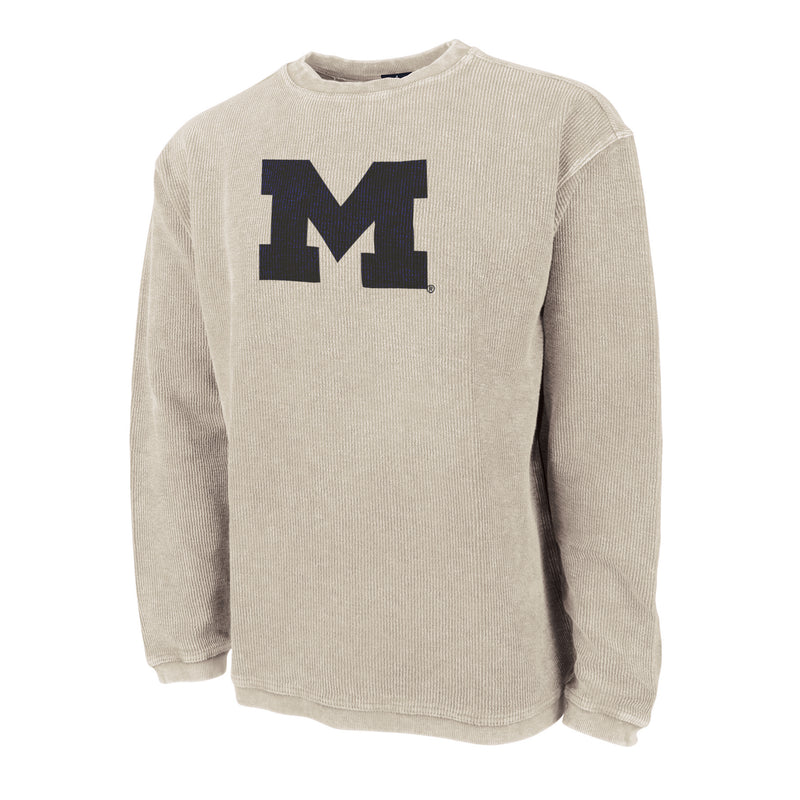 Primary Logo University of Michigan Charles River Camden Crewneck Sweatshirt - Oat