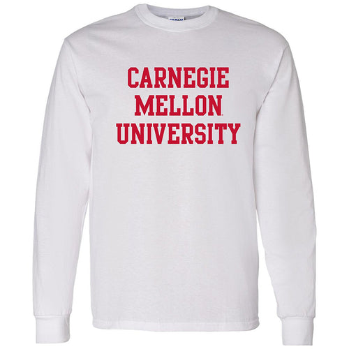 Carnegie Mellon University Tartans Basic Block Long Sleeves T Shirt - White