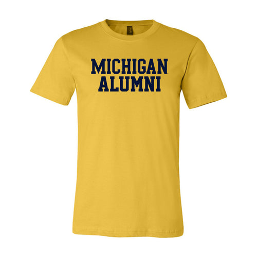 Basic Block Alumni University of Michigan Canvas Jersey Short Sleeve T Shirt - Maize