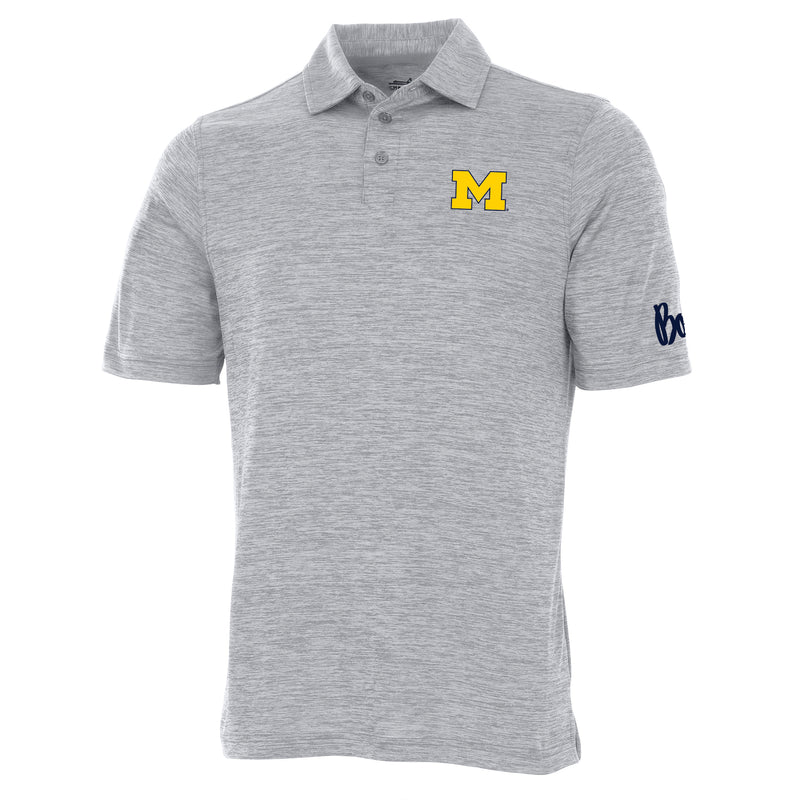 Block M Outline Bo Sig Michigan Wolverines Charles River Space Dye Polo - Grey