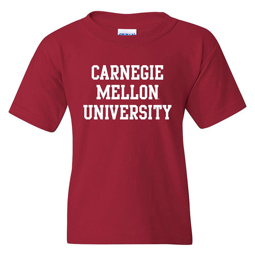 Carnegie Mellon University Tartans Basic Block Youth Short Sleeve T Shirt - Cardinal Red