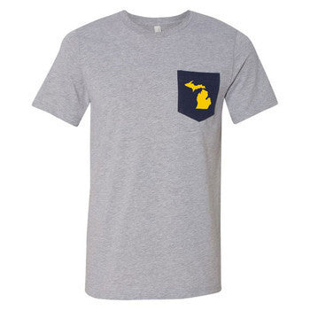 MI State Outline Pocket Tee - Athletic Heather/Navy