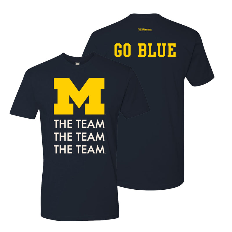 Bo Schembechler The Team The Team The Team University of Michigan Go Blue Tunnel Next Level Premium Short Sleeve T Shirt - Midnight Navy