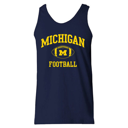 University of Michigan Wolverines Classic Football Arch Tank Top - Navy