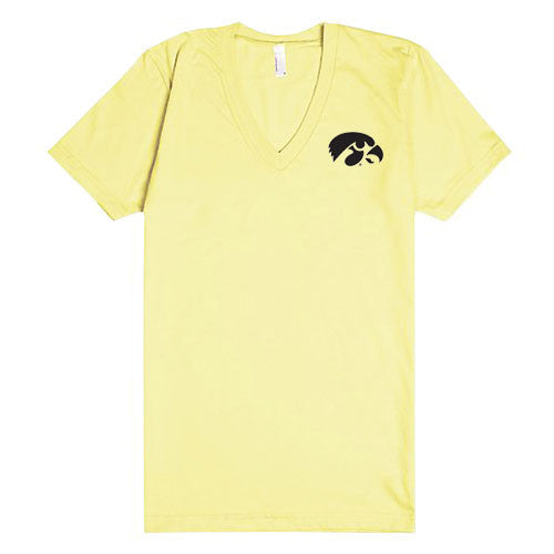 University of Iowa Hawkeye Logo Left Chest American Apparel Deep V-Neck Short Sleeve T Shirt - Sunshine