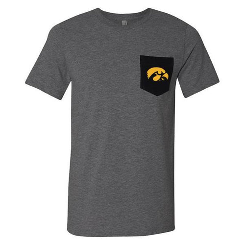 University of Iowa Hawkeye Logo Canvas Contrast Pocket Tee - Dark Grey / Black