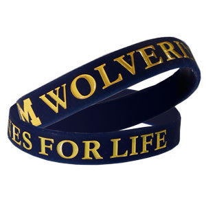 Wolverines For Life Wristband - Navy (single band)