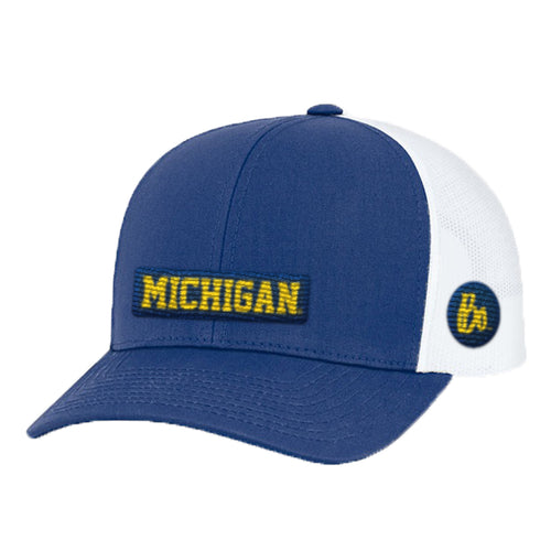 Block Michigan Bo Sig Patch Trucker Snapback Hat - Royal/White