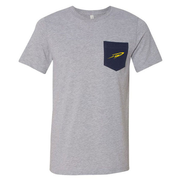 University of Toledo Rockets Pocket Short Sleeve T-Shirt - Athletic Heather/Navy