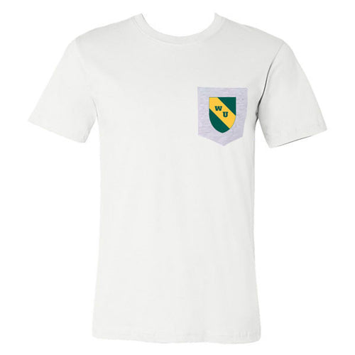 Wayne State Shield Pocket Tee - White/Athletic Heather